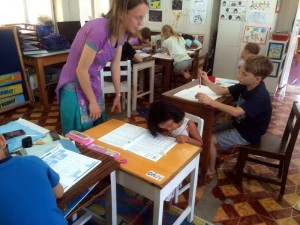 Nora in the classroom.