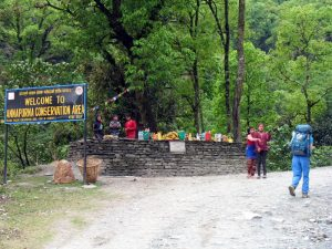 Entering the Annapurna Conservation Area.