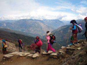 Nepali women carrying loads.