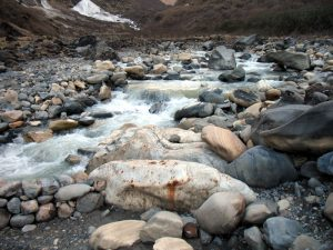 The Modi river is just a swift icey stream coming out of the glacier.