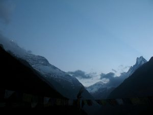 The sun just hitting the top of the Annapurna range.