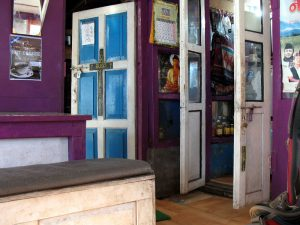 The inside dining area - I loved the door and the colors.