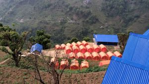 A tent village below us, and the settlements across the valley.