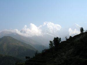 The Annapurna mountains seen from Landruk.