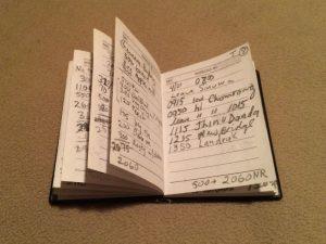 My trekking log book.
