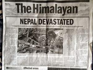 Newspaper headlines about the quake.