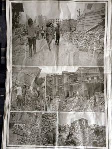 Newspaper article about the quake.